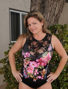 Sexy 37 Year Old Marie Micheals Shows Her Pink from the Backyard